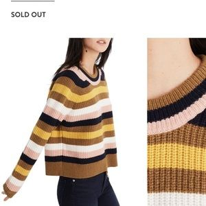 Madewell Tilden Striped Cropped Wool Blend Sweater